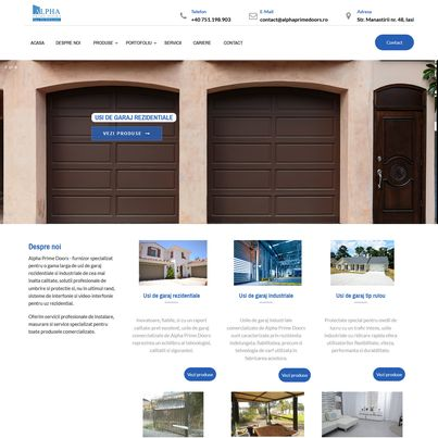 Design site web furnizor usi sectionale - Alpha Prime Doors