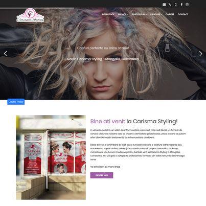 Design site web de prezentare salon infrumusetare - Carisma Styling