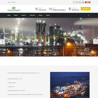Design site web companie servicii energetice - Reinvent Energy