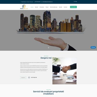 Design site web de prezentare evaluator imobiliar - Real Value
