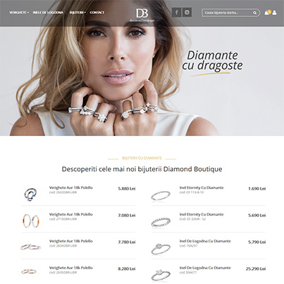 Design site web de vanzari online bijuterie - Diamond Boutique
