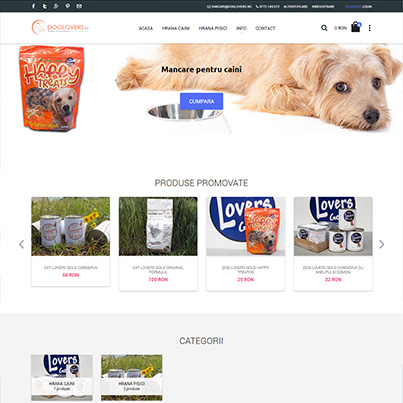 Design website comert online hrana uscata pentru animale - Doglovers