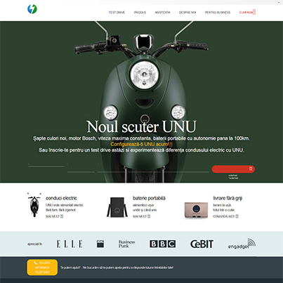 Design site web de prezentare scuter electric - UNU