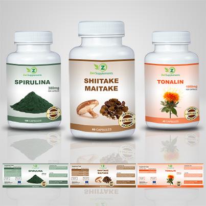 Design eticheta suplimente nutritive Shiitake