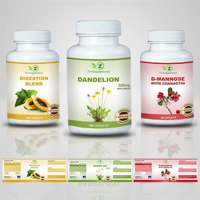 Design etichete suplimente nutritive Dandelion