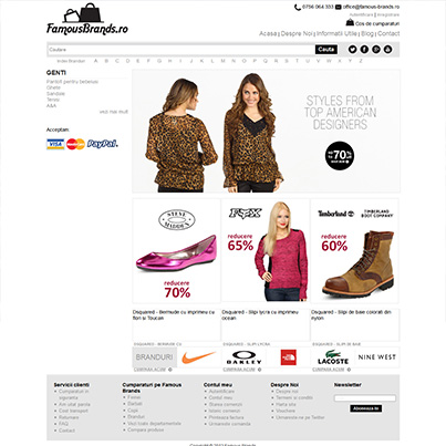 Design site ecommerce articole fashion Famous Brands