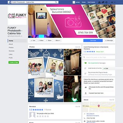 Design pagina facebook firma servicii foto personalizate pentru evenimente - Funky Photobooth