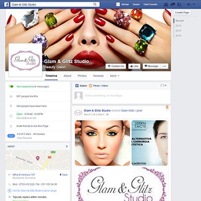 Design pagina facebook salon de infrumusetare Glam & Glitz Studio