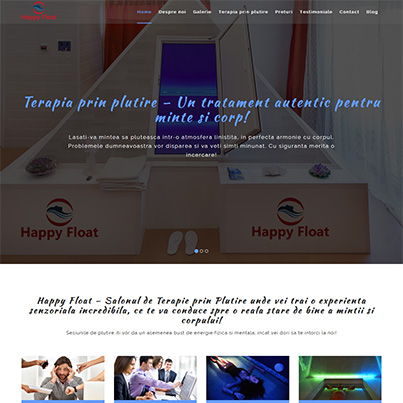 Design site web de prezentare salon de terapie prin plutire - Happy Float