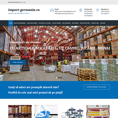 Design site web depozit en-gros de solduri si stocuri - www.import-germania.ro