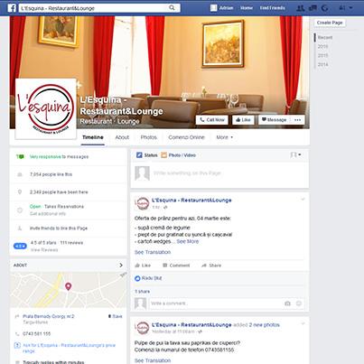Design pagina facebook restaurant & lounge Lesquina