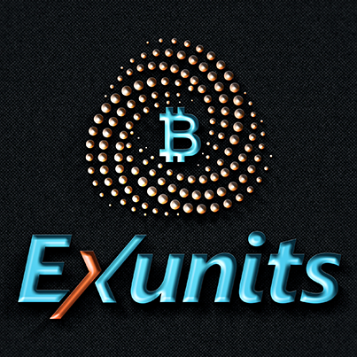 Design logo 3D platforma internationala tranzactionare Bitcoin - Exunits