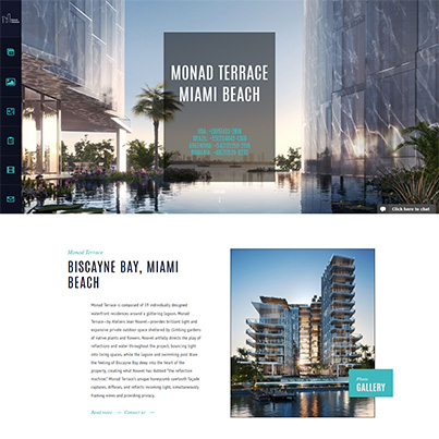 Design site web de prezentare Monad Terrace Condo Miami Beach
