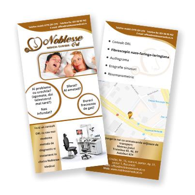 Design brosura centru medical ORL - Noblesse Medical Clinique
