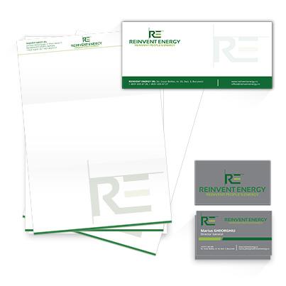 Design identitate companie ce activeaza in domeniul energetic - Reinvent Energy