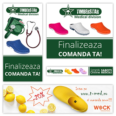 Realizare design grafic banner publicitar companie distribuitoare de echipamente si consumabile medicale - SC Timberstar SRL