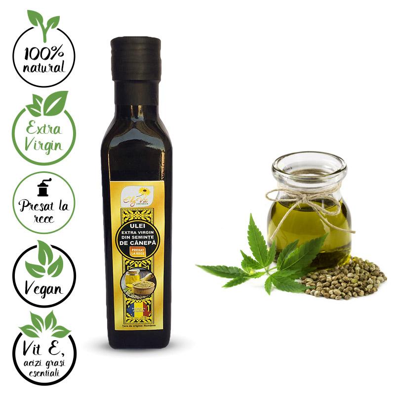 Design eticheta ulei extravirgin seminte de canepa - Edy Vit
