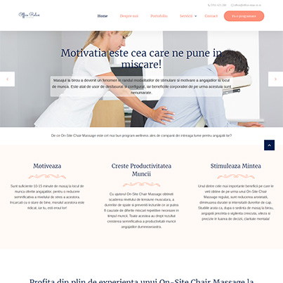 Design site web de prezentare firma servicii chair massage la birou si evenimente - Office Relax