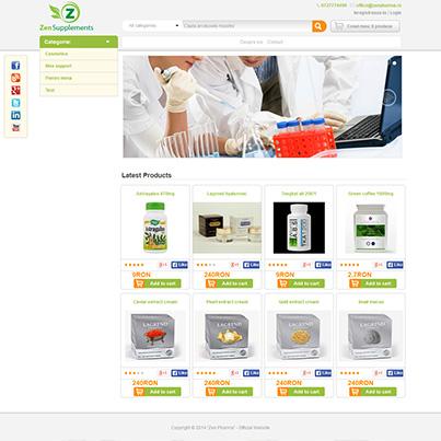 Design site vanzari online suplimente nutritive si produse ingrijire cosmetice - Zen Pharma