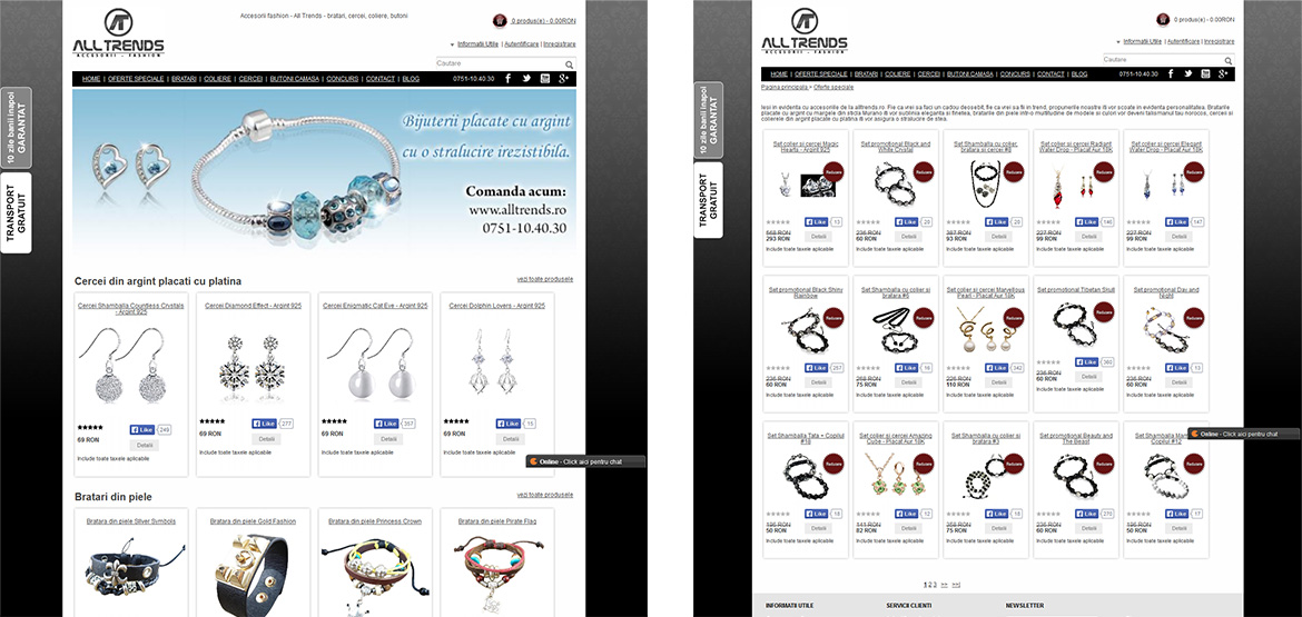 Design site web All Trends – accesorii, fashion