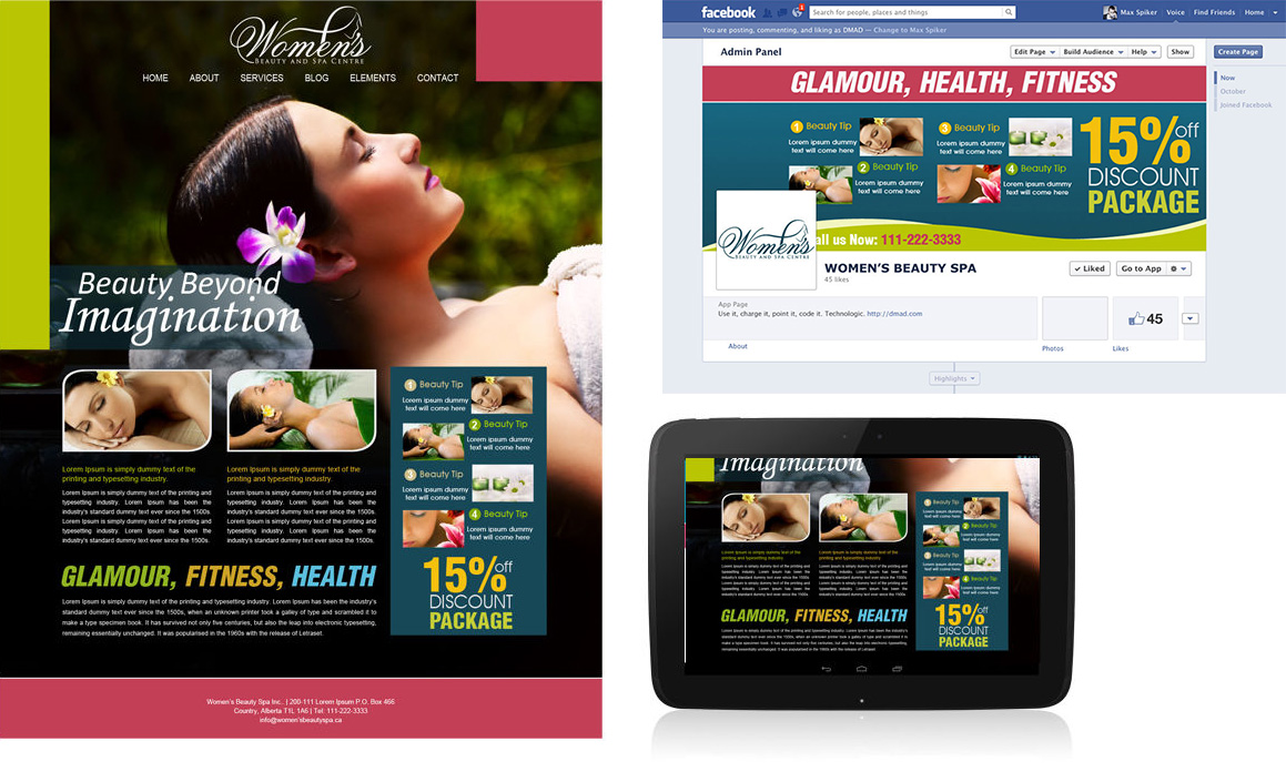 design site web firma spa, design pagina facebook, twitter firma spa