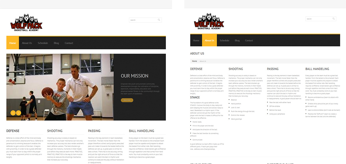 Design si realizare design site web Wolf Pack Bascketball Academy