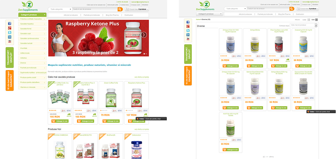 Design site web magazine online produse slabire Zen Supplements